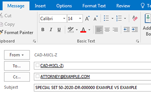 screen shot of email program showing proper addressing
